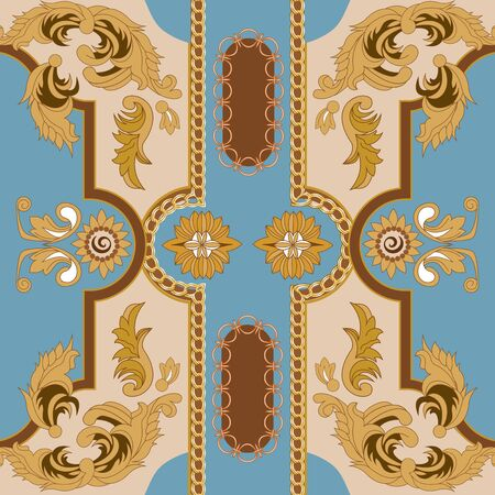 Seamless pattern with golden chain and baroque leaves. Vector patch for scarfs, print, fabric. Belts, metallic accessories and jewelry. Italian motifs. Straps.Realistic vector.Blue background