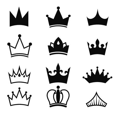 Crown vector black set.King silhouette isolated on white background.Royal Crown icons collection.High status item.Element for your design.Vector illustration.