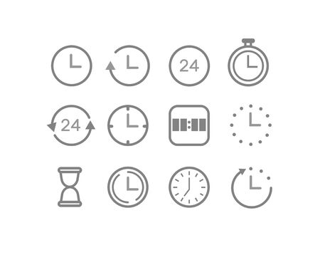 Set of 24 Time and clock web icons in line style. Timer, Speed, Alarm, Calendar. Vector illustration.Icon time outline simple Stock Illustratie