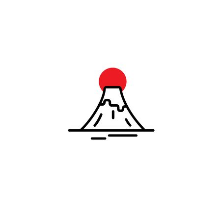 Fuji mount Japan icon logo vector template. Illustration mountain symbol design.Red sun.