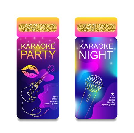 Karaoke party night invitation flyer template. Concept for a night club.Advertising bright karaoke bar, party, disco bar.Live music.Ticket Neon Vector.Ticket with lights and gold glitter. Stock Illustratie
