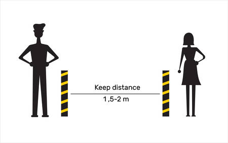 Keep distance sign. Coronovirus epidemic protective equipment. Preventive measures. Steps to protect yourself. Keep the 1 meter distance. Vector illustration. Flat design vector