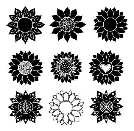 Sunflower isolated on white background. Flat vector illustration. Boho tribal print. design illustration. silhouette black style. Nature flower set. summer shapes botanical set. Graphic abstract decor.