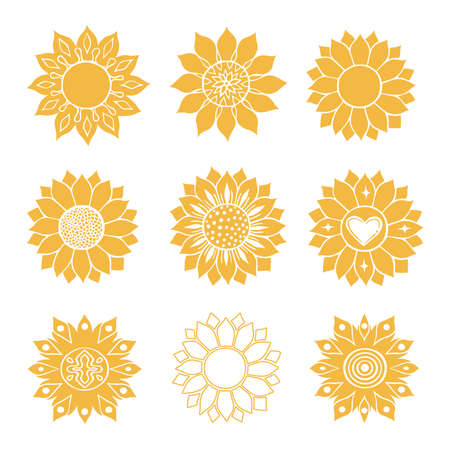 Sunflower isolated on white background. Flat vector illustration. Boho tribal print.design illustration.silhouette color style. Nature flower set. summer shapes botanical set.Graphic abstract decor.