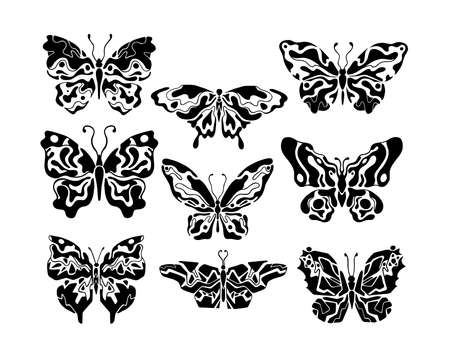 Boho print geometric.Butterfly set hand drawn eco bio fashion.Bohemian minimal shape.Natural and wildlife.Collection decorative element.Graphic modern abstract symbol.Tattoo and textile t-shirt vector