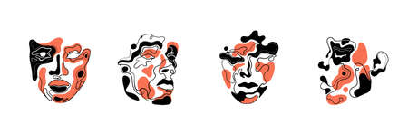Abstract art faces for an art exhibition: music, literature or painting. Vector illustrations of shapes, portraits of people. Contemporary Hand drawn Vector illustrations. Continuous line, minimalistic