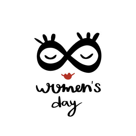 International women's day.8 march card.Hand drawn greeting lettering template.event gift creative letter.Mask, eyelashes and red lips.Feminism event.Design vector.Spring time.isolated.Eight as glasses Vectores