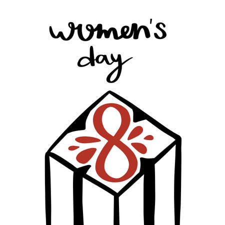 International women's day. 8 march card. Hand drawn greeting lettering template.event gift creative letter.Box with surprise.Feminism event.Flat design vector.Spring time. Vectores