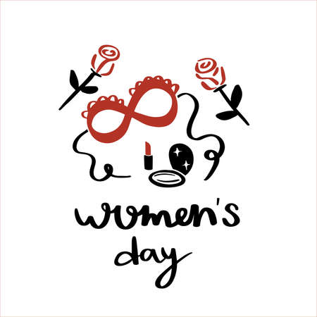 International women's day. 8 march card. Hand drawn greeting lettering template.event gift creative letter.Mask, lip stick and roses.Feminism event.Flat design vector.Spring time.isolated background. Vectores