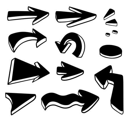 Upgrade icon. Arrow vector set.Web direction doodle.Hand drawn ink. Sketch graphic abstract. Mark element play. Up sign. Interface pointer cursor.