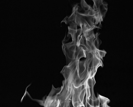 bright fire on a black background at night Stock Photo