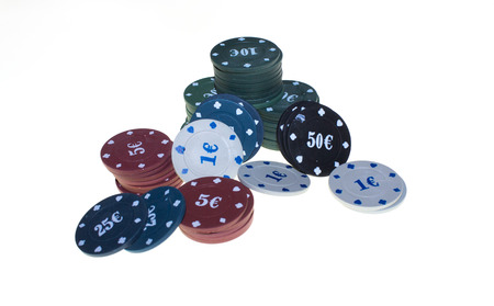 poker chips on white background Stock Photo