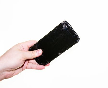 phone in hand on a white background