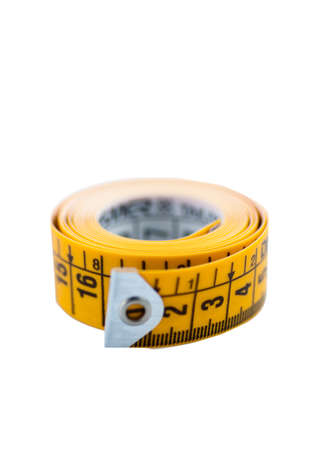 Isolated yellow metric tape photo