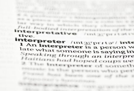 english dictionary: Entry for interpreter in an English dictionary Stock Photo