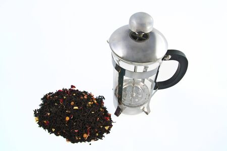 Isolated metallic tea pot on a white blackground photo