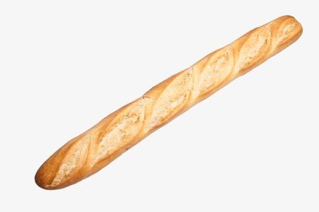 pan frances: Baguette francesa aislada sobre fondo blanco