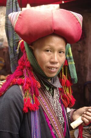 Woman  Hmong red in the region of north Vietnam SAPA Stock Photo