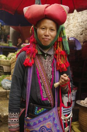 sapa: Woman  Hmong red in the region of north Vietnam SAPA Stock Photo