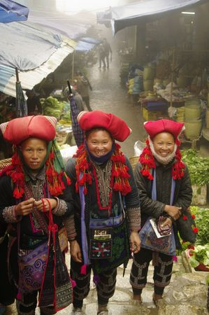 Hmong red pompons women