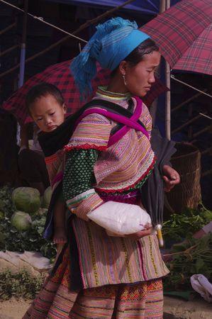 Woman Hmong flowered market of Lai Chau