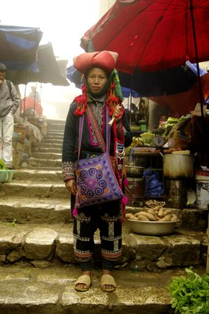 Portrait of a woman from the Hmong red