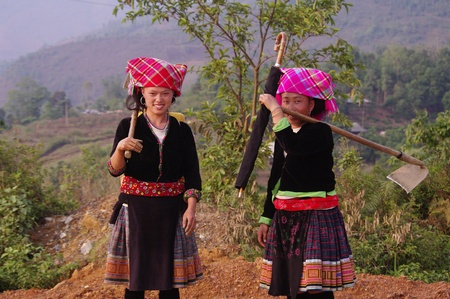 flowered: Two young women Flowered Hmong