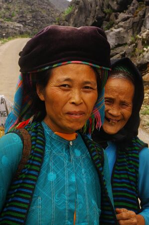 Mother and daughter of the White Hmong ethnic  photo