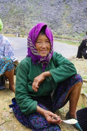 White Hmong grandmother in lunch