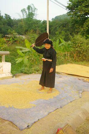 winnowing: Grandma Thai ethnic people