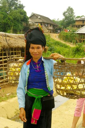 Thai woman with her stockade Stock Photo