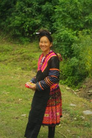 Flowered Hmong woman