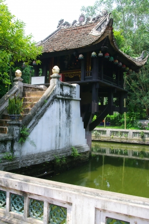Located to the west of an ancient citadel Thang Long, the One Pillar Pagoda Chua Mot Cot was built in 1049 under the Ly dynasty  Formerly called Dien Huu  mean lasting happiness , the pagoda symbolizes longevity for the second King Ly, the shape of a lotu