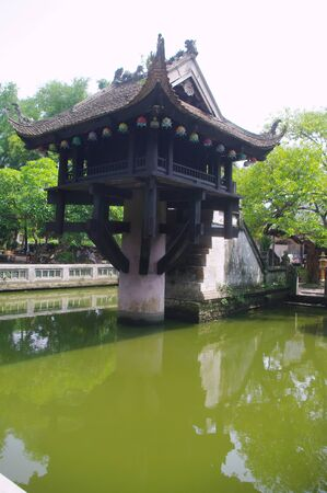 mot: THE One Pillar Pagoda  Chua Mot Cot  in Hanoi Stock Photo