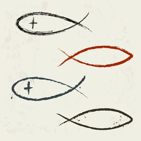 Christian symbol fish, hand drawn  Illustration