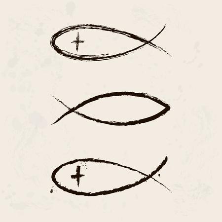 saviour: Christian symbol fish, hand drawn  Illustration
