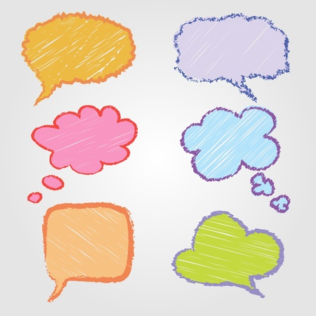 colorful hand drawn speech bubbles Vector