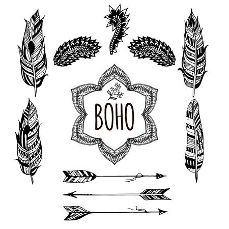 sketched arrows: Gypsy love, hand drawn vector feathers, arrows and hand drawn elements for your design. Boho style. Hippie and tribal sketched elements.