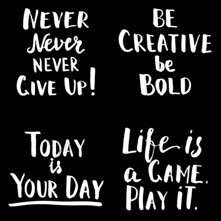 Happy motivational quotes set. Hand drawn brush lettering. Inspirational creative template for  t-shirt design, home decoration, printables. Modern hipster sayings. Illustration