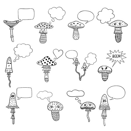 mushroom cloud: Freehand drawn cartoon mushrooms set with speech bubbles. Funny characters. Doodle smiles and emotions. Illustration