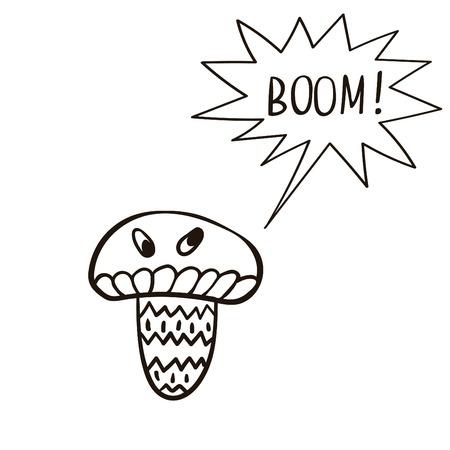 mushroom cartoon: Freehand drawn cartoon mushroom with speech bubble. Funny character. Illustration