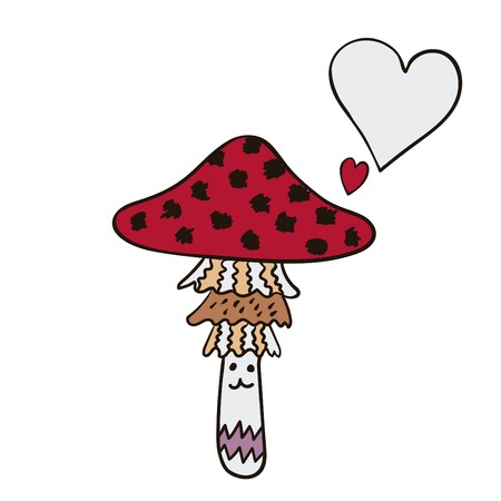 mushroom cloud: Freehand drawn cartoon mushroom with speech bubble. Funny character. Illustration