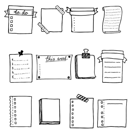 reminders: Hand drawn vector paper notes set. Outline doodle sheets for notes and reminders. Isolated frames for text. Illustration