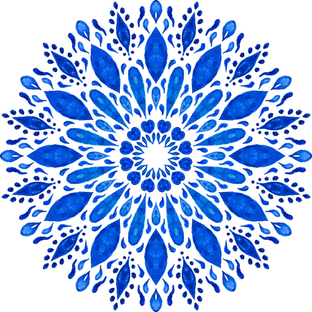 Highly-detailed Mandala. Watercolor Hand Drawn Round Ornament. Lacy Ethnic Pattern. Indian, Arabic, Islam, ottoman motif. Blue Ornamental Rosette Isolated on White Background. Illustration