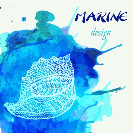 Conchiglia stilizzata di vettore disegnato a mano su fondo dipinto artistico. Sfondo di vacanze marine ed estive. Simbolo di relax e meditazione. Modello di progettazione estate creativa. Archivio Fotografico - 97555890
