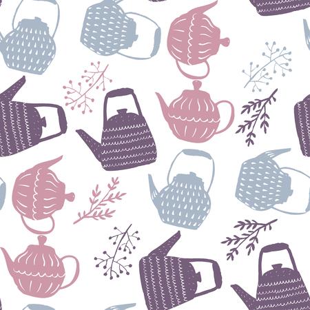 Modèle sans couture de vecteur dessiné à la main de style Hygge pour le textile, les papiers peints et le papier d'emballage. Palette pâle d'hiver à la maison confortable.