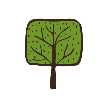 Hand drawn ecological green icon tree. Nature simple sticker. Hand drawn simple environmental vector illustration.