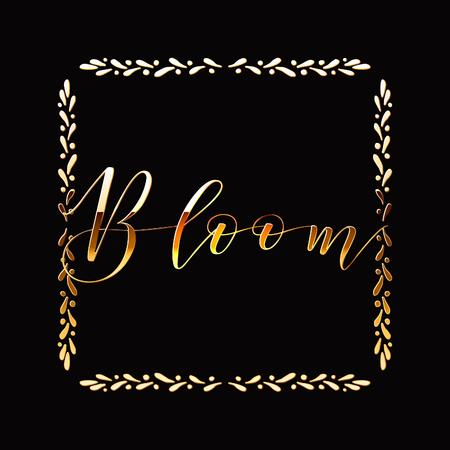 Floral Frame or Monogram Hand Drawn Element. Doodle Branches Border Illustration for Wedding Invitations, Greeting Card or Restaurant Menu. Hipster Hand Made Logo Design Template. Banque d'images - 124893318