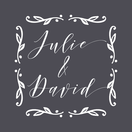 Floral Frame or Monogram Hand Drawn Element. Doodle Branches Border Illustration for Wedding Invitations, Greeting Card or Restaurant Menu. Hipster Hand Made Logo Design Template. Banque d'images - 124893322