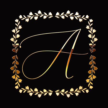 Floral Frame or Monogram Hand Drawn Element. Doodle Branches Border Illustration for Wedding Invitations, Greeting Card or Restaurant Menu. Hipster Hand Made Logo Design Template. Banque d'images - 124893323